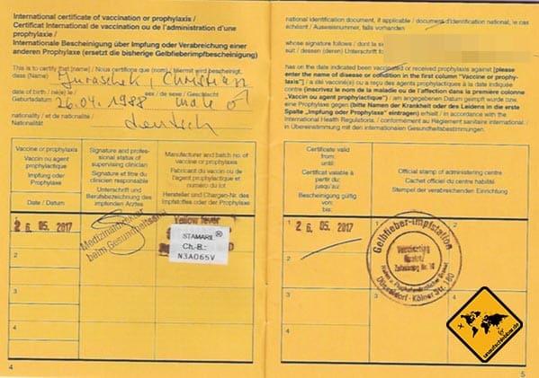 Visum Äthiopien Gelbfieber Nachweis Impfung