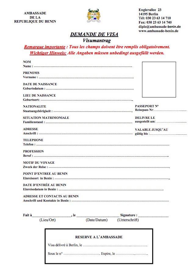 Visum Benin beantragen Antrag Formular