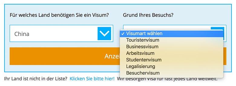 Visum China beantragen Visabox