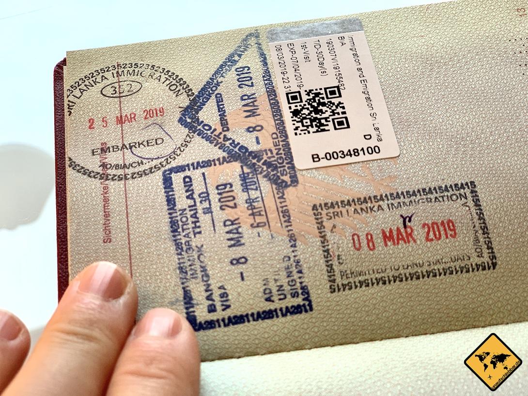 Visum für Sri Lanka Kosten