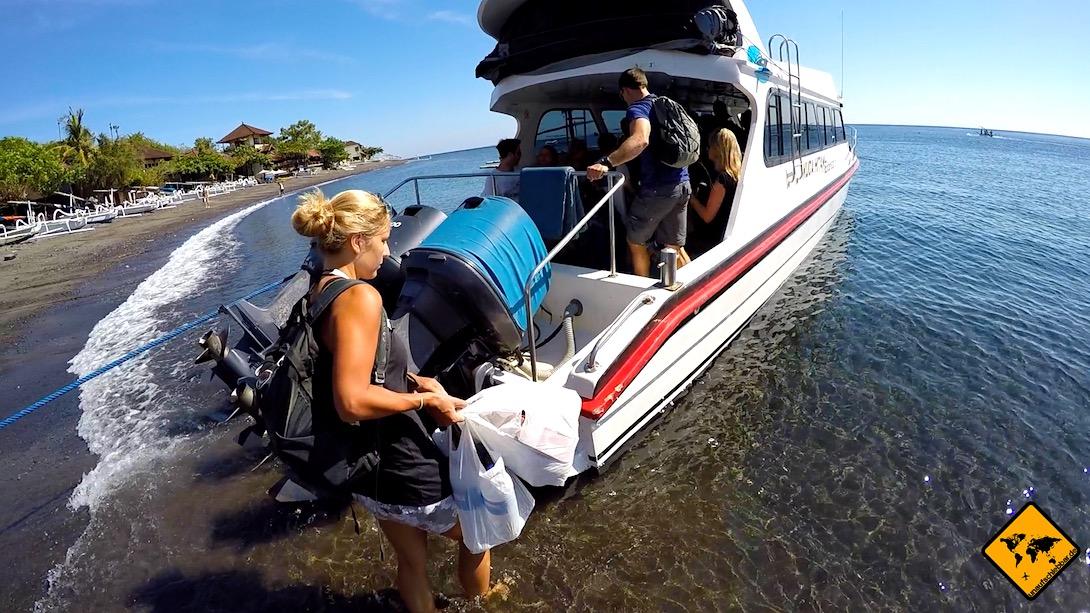 Von Bali auf die Gili Inseln: Am Hafen von Amed fahren jeden Morgen Schnellboote nach Gili Trawangan und Gili Air