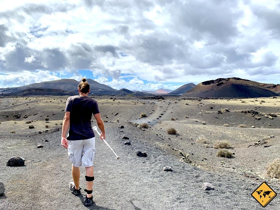 Wandern Volcán El Cuervo Krücke