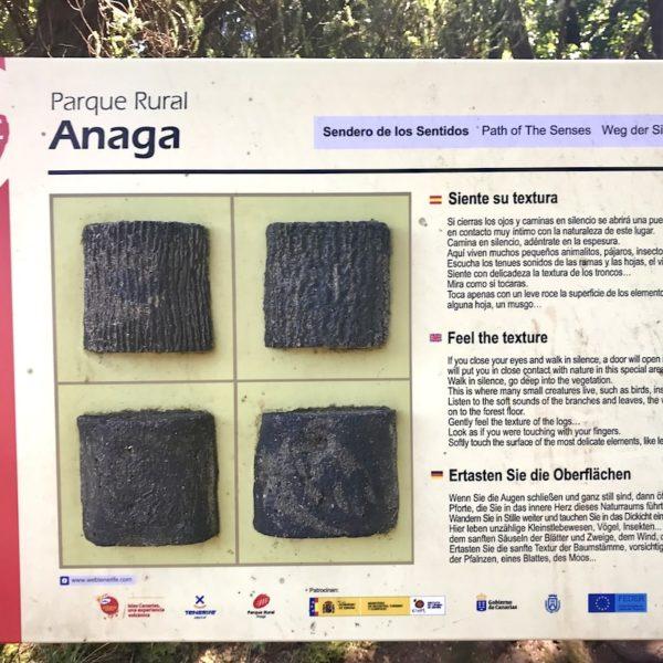 Wandern auf Teneriffa Anaga Gebirge Weg der Sinne Tafel