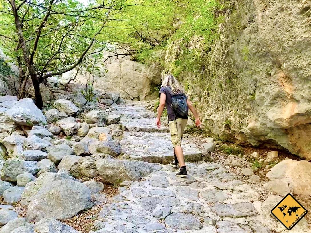 Wanderung Paklenica Nationalpark Stufen