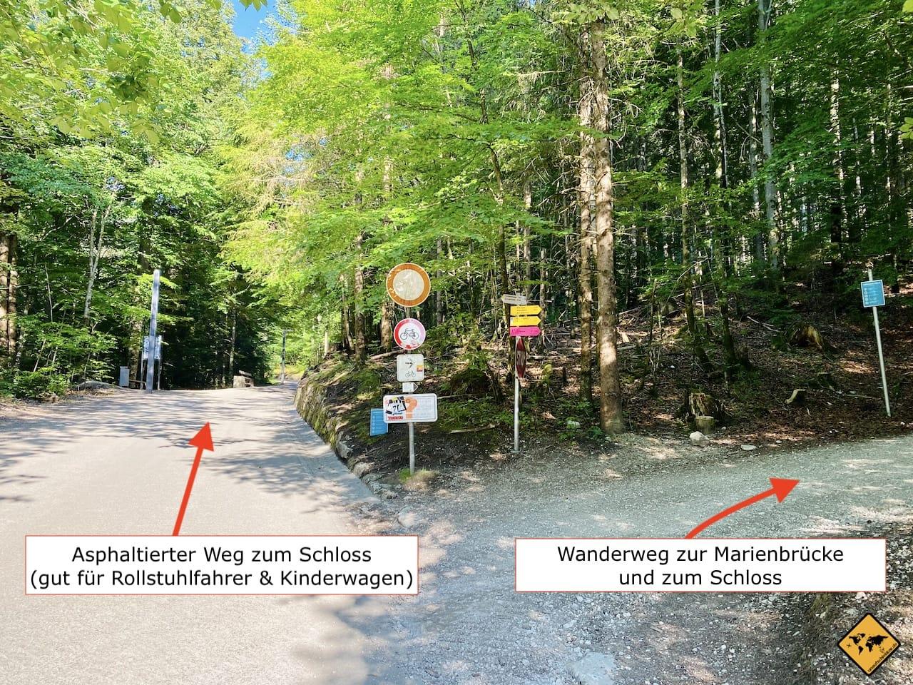 Wanderweg Schloss Neuschwanstein Wegteilung
