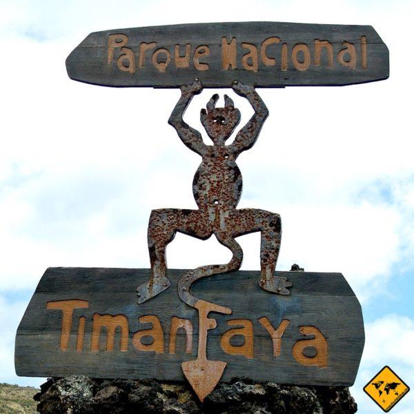 Was bedeutet Timanfaya? Die Figur stellt einen Feuerteufel dar, der von César Manrique entworfen wurde
