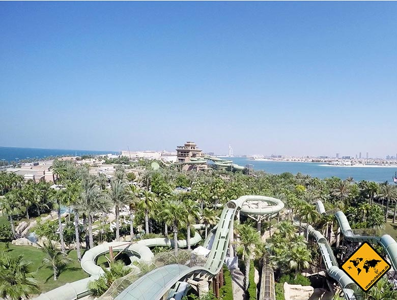Ausblick über den Wasserpark Dubai