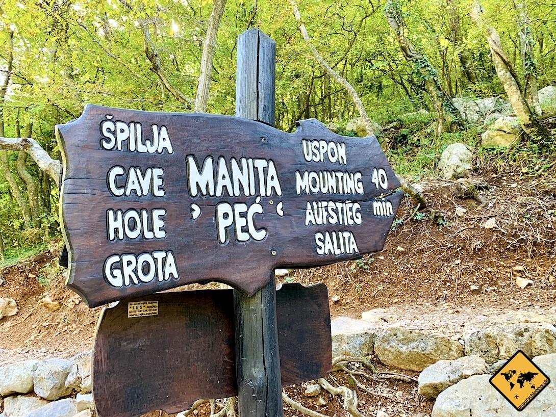 Wegweiser Manita peć Tropfsteinhöhle Kroatien