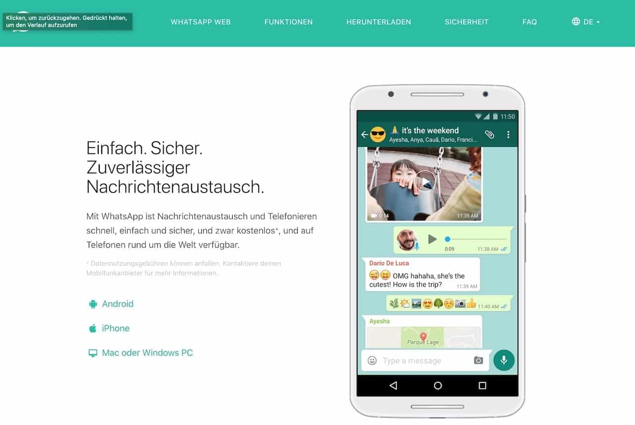WhatsApp Nachrichtenaustausch remote work tool