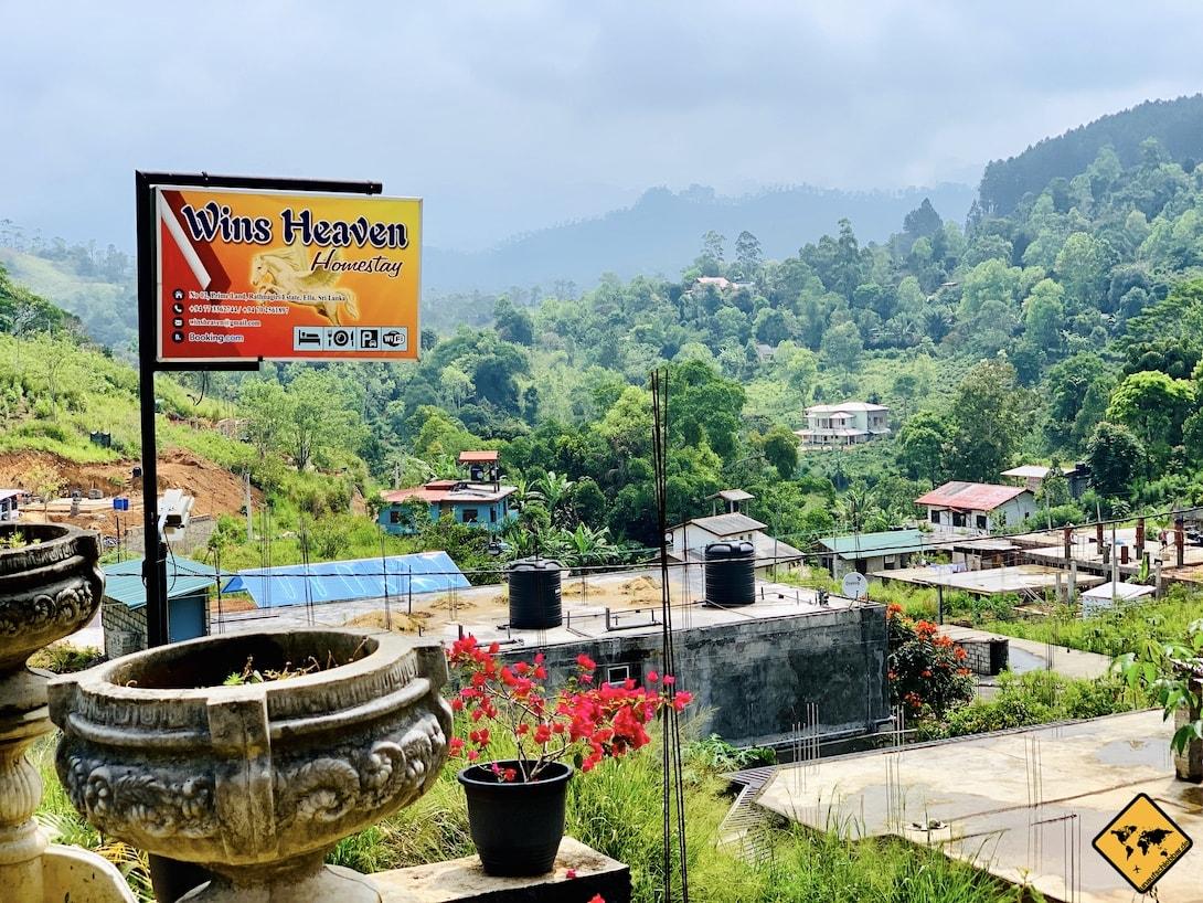 Wins Heaven Homestay Ella Sri Lanka Aussicht ins Grüne