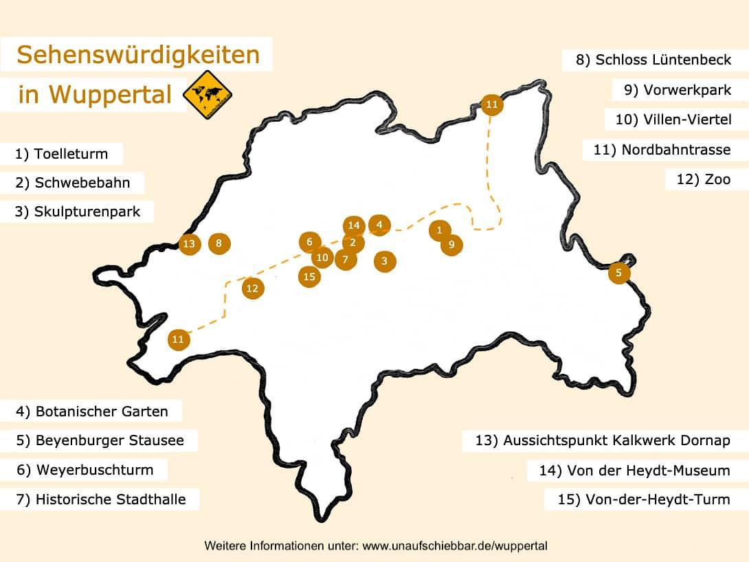Wuppertal Karte Sehenswürdigkeiten