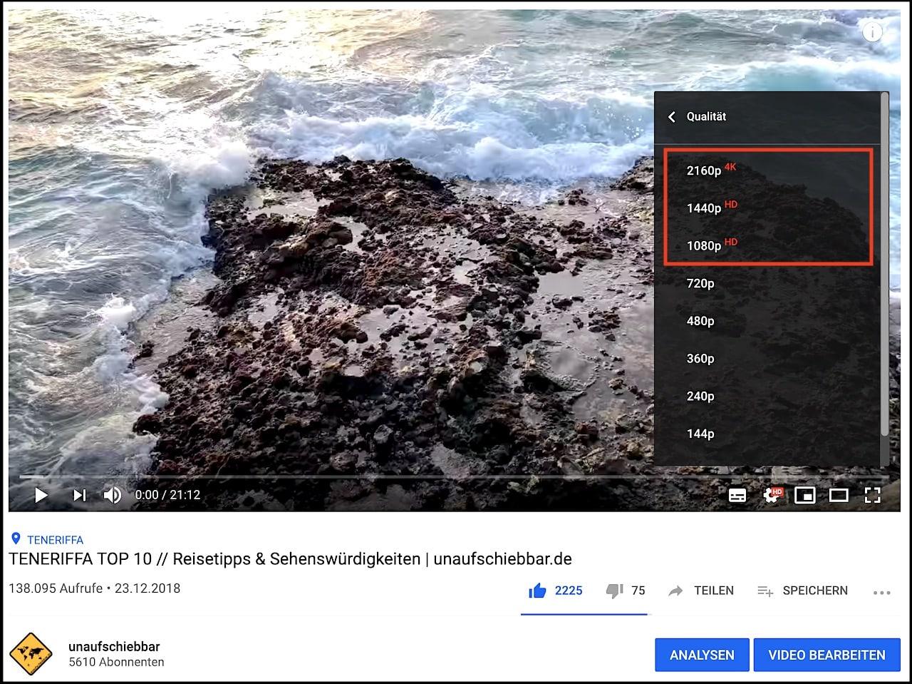 YouTube Video Qualität einstellen