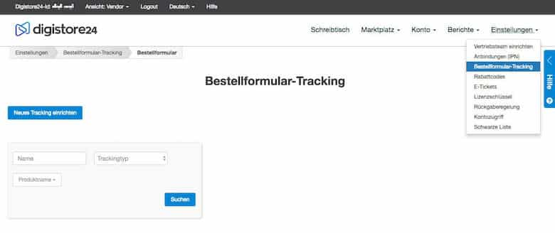 DigiStore24 Bestellformular Tracking neues Tracking einrichten