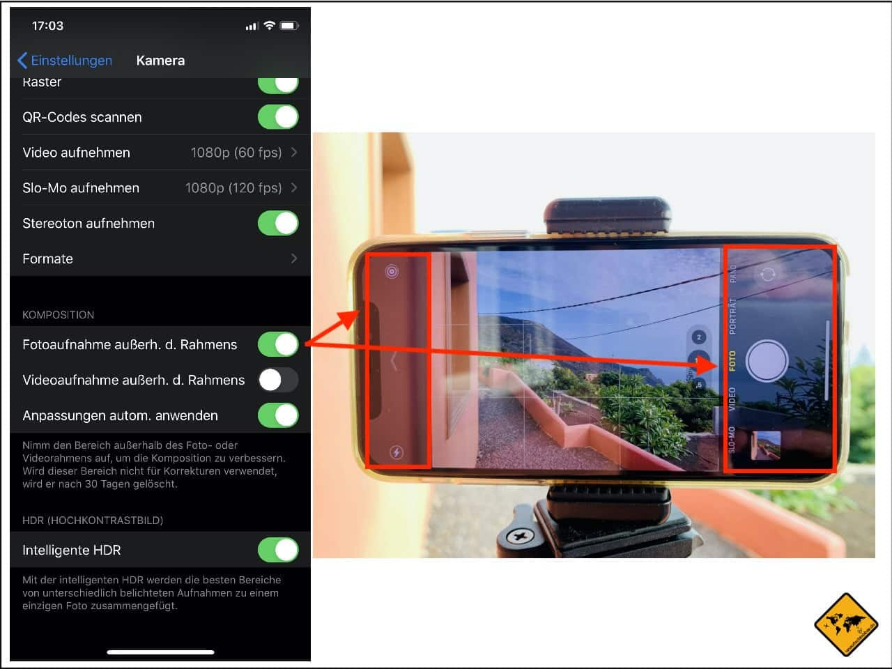 iPhone Aufnahmen außerhalb des Rahmens