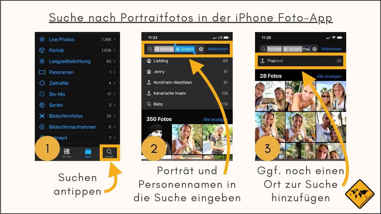 iPhone Foto-App Suche Porträt