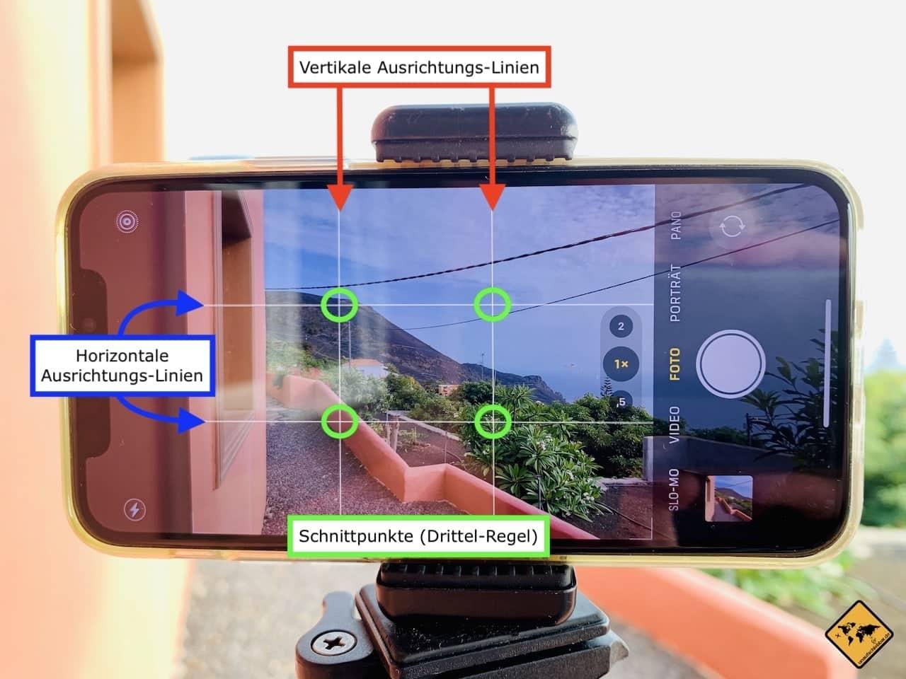 iPhone Kamera Einstellungen Raster Linien