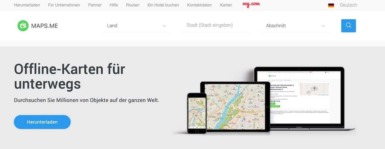 maps.me Offline Karten unterwegs