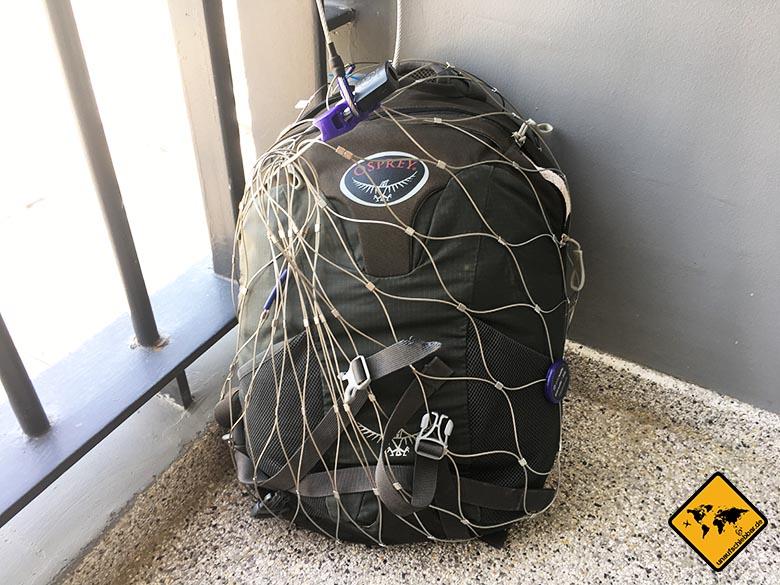 Pacsafe Test Review Osprey eingepackt